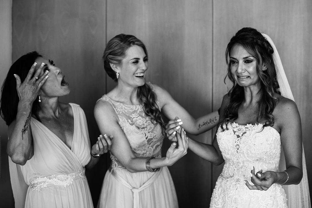 bride gets emotional during getting ready