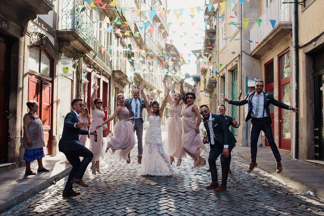 bridal party having fun in porto